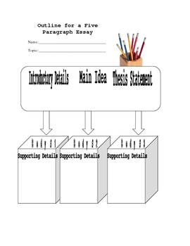 Outline Graphic Organizer for Writing a Five Paragraph Essay