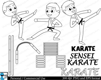 Outline Karate kids Digital Clip Personal Commercial Use 38 images cod158
