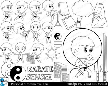 Outline Karate kids Digital Clip Personal Commercial Use 3