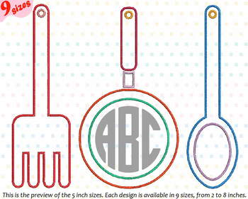 Outline Kitchen Embroidery Design Chef Utensils Cooking Fork Spoon 178b