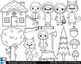 Outline Little Red Riding Hood Digital ClipArt 23 images cod116