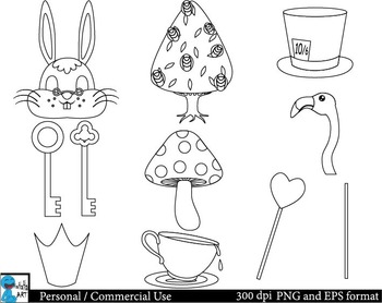 Outline Mad Hatters Tea Party booth Props ClipArt 37 images cod138