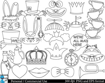 Outline Mad Hatters Tea Party booth Props ClipArt 37 image