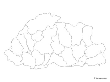 Outline Map of Bhutan with Districts