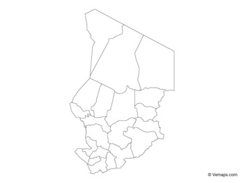 Outline Map of Chad with Regions