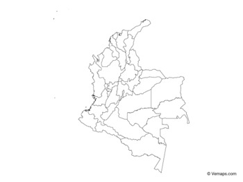 Outline Map of Colombia with Departments