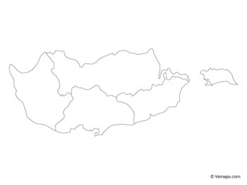 Outline Map of Cyprus with Districts