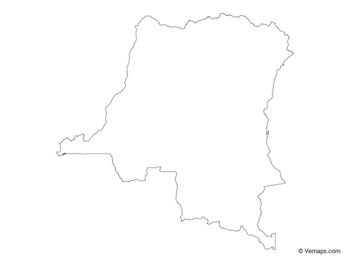 Outline Map of Democratic Republic of the Congo