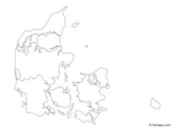 Outline Map of Denmark with Regions