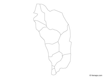 Outline Map of Dominica with Parishes