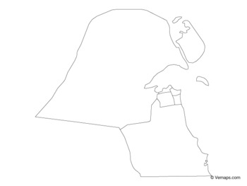 Outline Map of Kuwait with Governorates