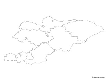 Outline Map of Kyrgyzstan with Regions