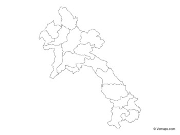 Outline Map of Laos with Provinces