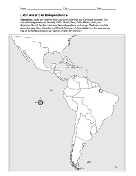 Outline Map of Latin American Independence