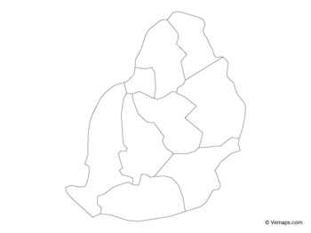 Outline Map of Mauritius with Districts