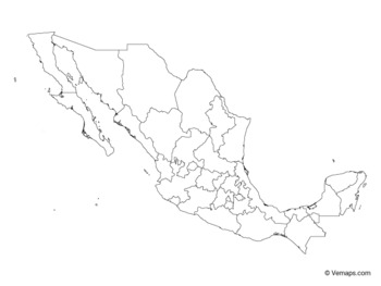 Outline Map of Mexico with States