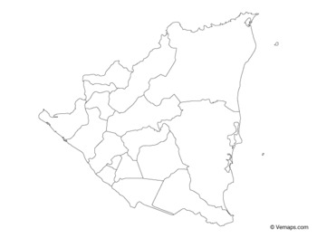 Outline Map of Nicaragua with Departments