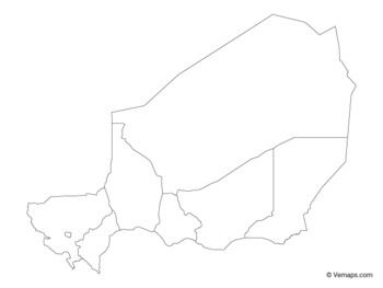 Outline Map of Niger with Regions