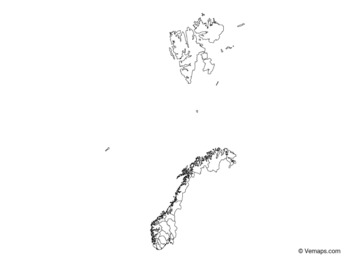Outline Map of Norway with Counties