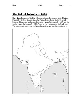 Outline Map of The British in India to 1858