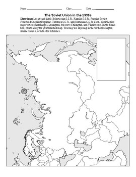 Outline Map of The Soviet Union in the 1930s