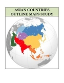Outline Maps Study, Asia and Asian Countries