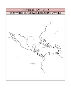 Outline Maps Study, Central America Countries