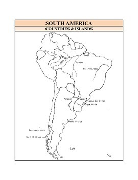 Outline Maps Study, South America Countries