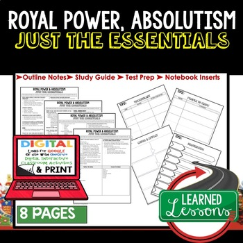 Royal Power, Absolutism Outline Notes JUST THE ESSENTIALS Unit Review