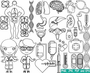 Outline Organs Medic Doctor Nurse stamp coloring page line biology Clip Art -168