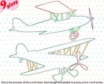 Outline Plane Embroidery Design Machine Science Airplane old war vintage 177b