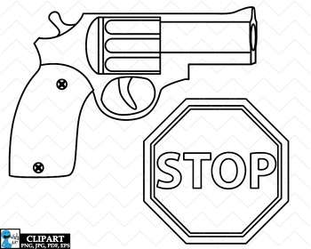 Outline Police Props - Clip Art Digital Files Personal Commercial Use cod261