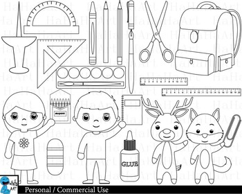 Outline School supplies - Digital Clipart, Clip Art Graphics - 31 images cod218