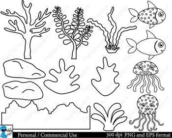 Outline Sea animals Digital ClipArt Personal, Commercial Use 35 images cod114
