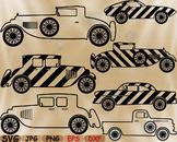 Outline Splited Vintage Sport Cars svg clip art race car v