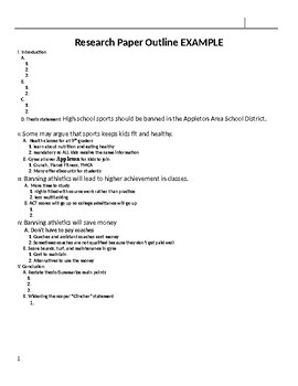 Outline Template- Argumentative Essay