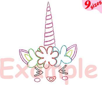 Outline Unicorn Embroidery Design Machine cute smile face happy girl horn 137b