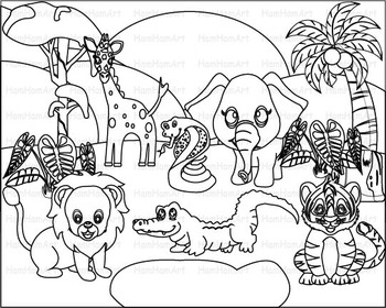Outline Wild Jungle school Woodland Clip Art zoo line stamp africa animal -068-