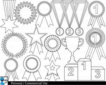 Outline Winner Medals - Digital Clipart, Clip Art Graphics