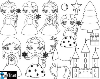 Outline Winter Princess - Clip Art Digital Files Personal Commercial Use cod251