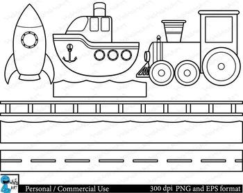 Outline all transportation Digital Clip Art 20 images cod122