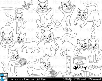 Outline cats Digital Clip Art Graphics Personal Commercial