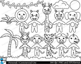 Outline cute safari animals Digital Clip Art Graphics 16 images cod127