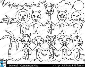 Outline cute safari animals Digital Clip Art Graphics 16 images cod127