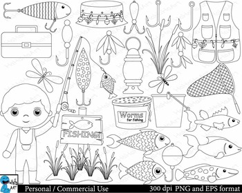 Outline fishing Digital Clip Art Personal Commercial Use 36 PNG cod163