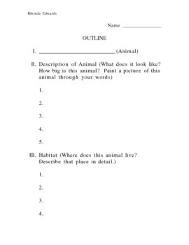 Outline for Animal Research Project