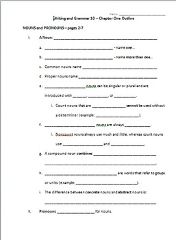 Outline for BJU Writing and Grammar 10 - Chapter 1