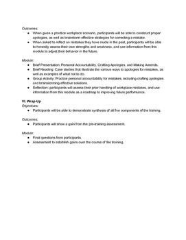 Outline for a Seminar on Personal Accountability and Time Management