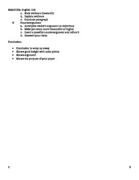 Outline for argumentative essay