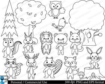 Outline forest animals Digital Clip Art Graphics 35 images cod131